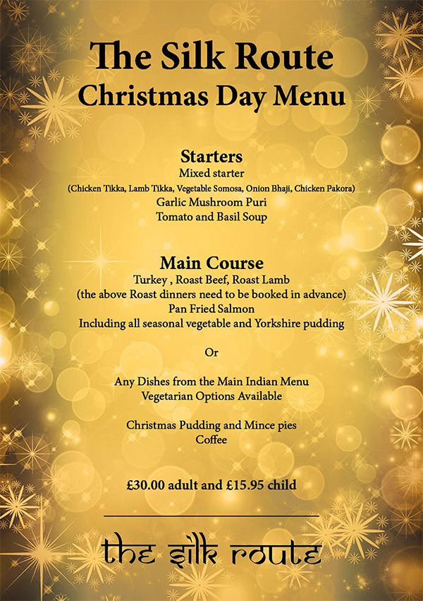 Silk Route Indian Restaurant Christmas Day Menu 2017