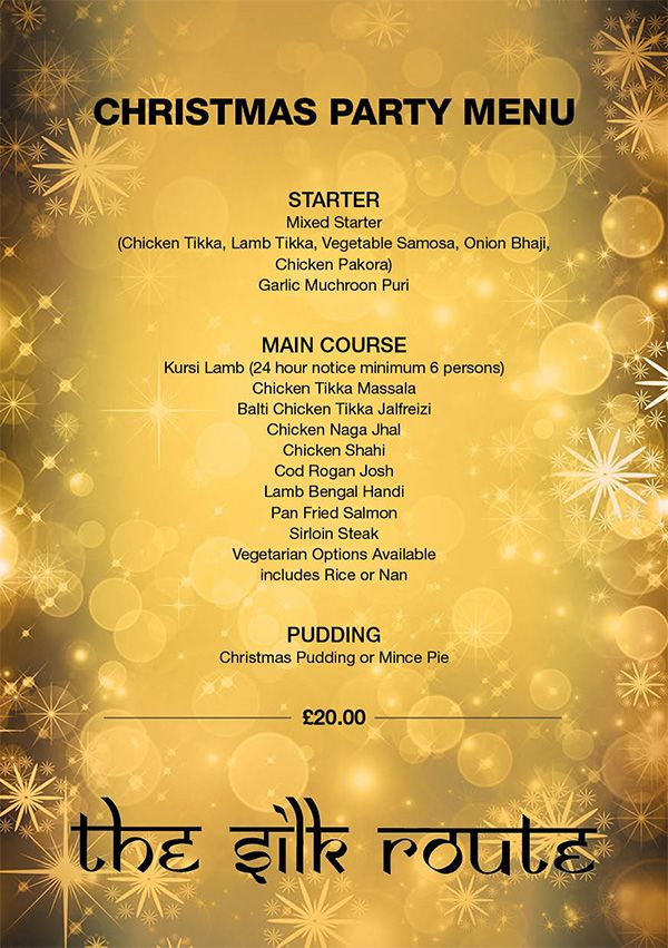 Silk Route Indian Restaurant Christmas Party Menu 2017