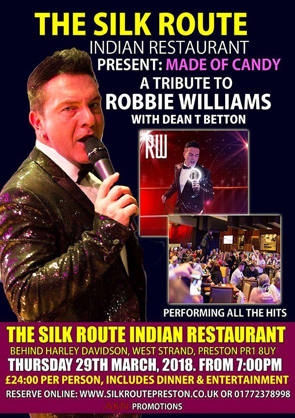 Robbie Williams Tribute Silk Route Indian Restaurant Preston Lancashire UK