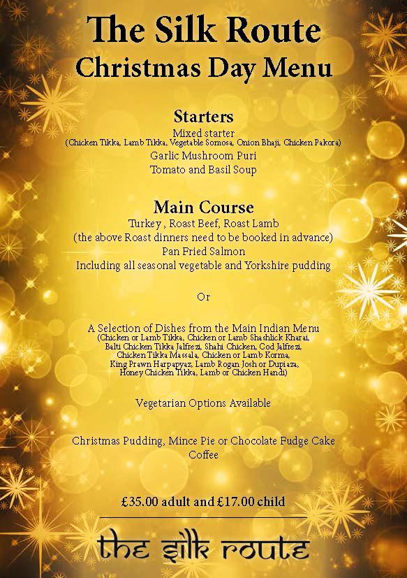 SILK ROUTE Indian Restaurant Preston Christmas Day Menu